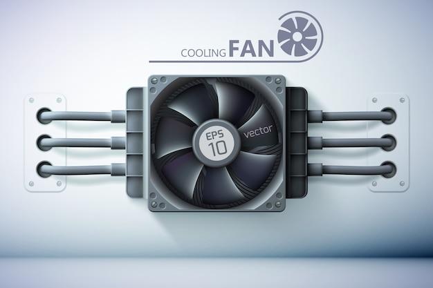 Concetto di design della ventola hardware con dispositivo di raffreddamento del computer in plastica realistico e fili