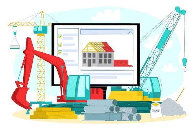 Negozio online di hardware, illustrazione vettoriale. attrezzatura professionale piatta per l'edilizia, negozio web con strumenti e materiale del settore.