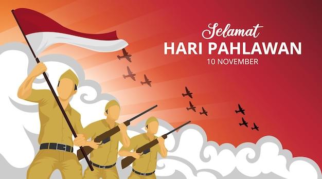 Hari pahlawan o sfondo del giorno degli eroi dell'indonesia con soldati in battaglia illustrazione