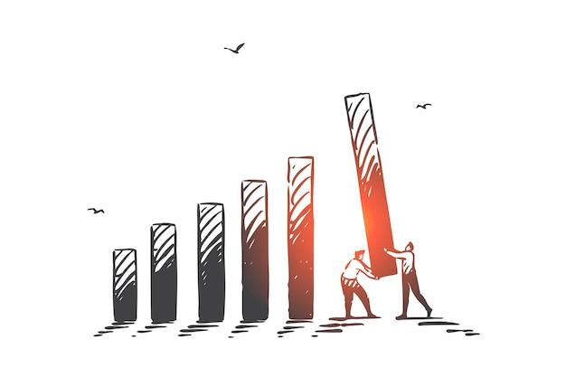 Lavoro di squadra armonioso, cooperazione, illustrazione di schizzo di concetto di partnership commerciale