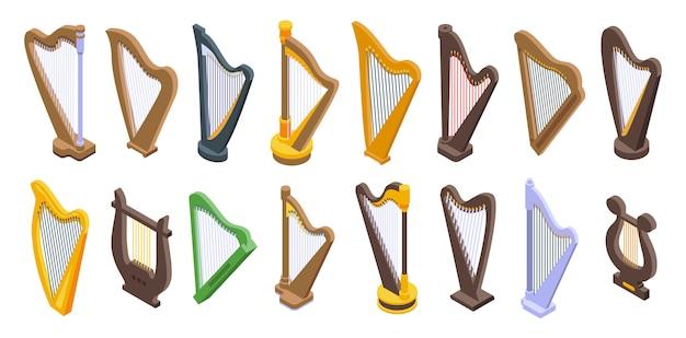 Set di icone di arpa, stile isometrico