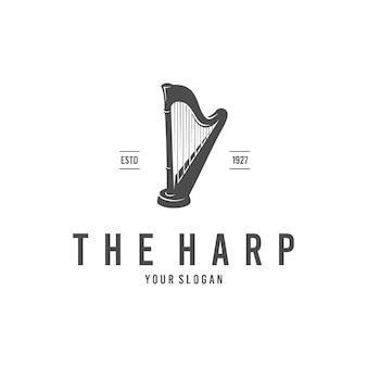 Modello di logotipo di arpa