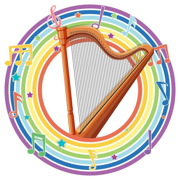 Arpa in cornice rotonda arcobaleno con simboli di melodia