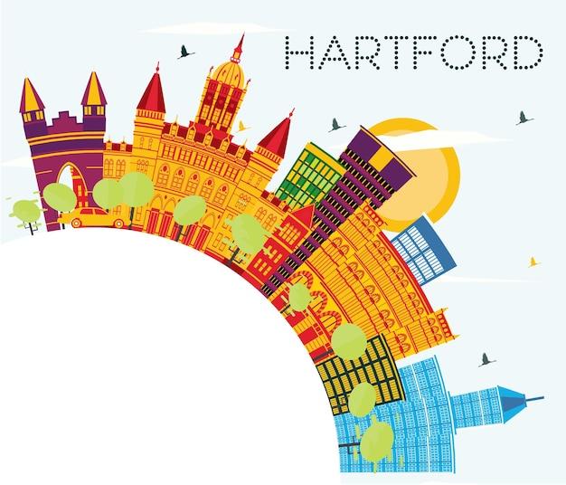 Orizzonte di hartford connecticut usa con edifici di colore, cielo blu e spazio di copia. illustrazione di vettore. viaggi d'affari e concetto di turismo con architettura storica. hartford paesaggio urbano con punti di riferimento.
