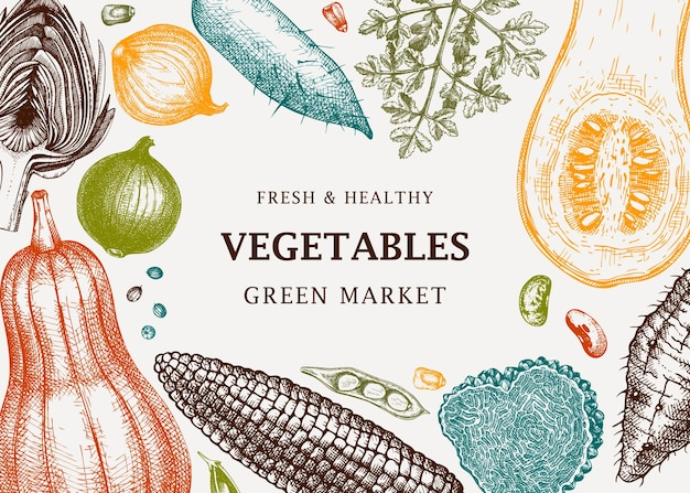 Harvest festival vector frame design in colore verdure erbe funghi sfondo con elementi h modello di banner ingredienti alimentari sani per annunci di menu banner web ricette