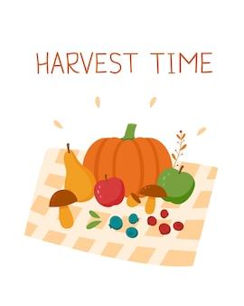 Cartolina del tempo del raccolto. verdure, frutta e foglie.