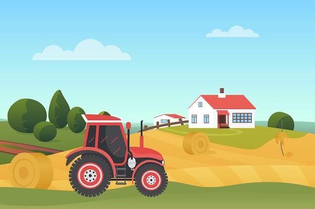 Raccolta nel paesaggio autunnale moderno trattore agricolo sul campo di grano con pagliaio house