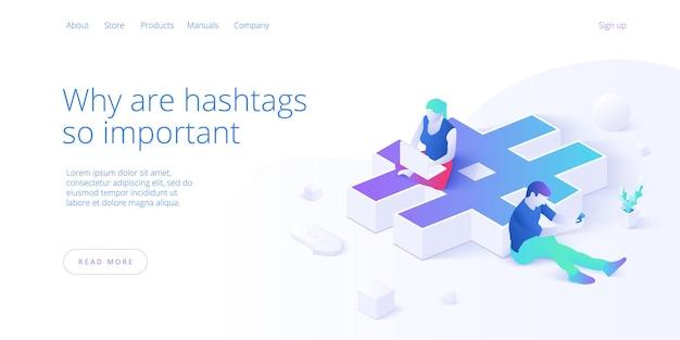 Vantaggi hashtag con i giovani che utilizzano smartphone e laptop
