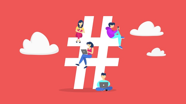 Concetto di hashtag. idea di un social media