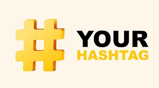 Hashtag, segno 3d segno numero isolato sul muro bianco.