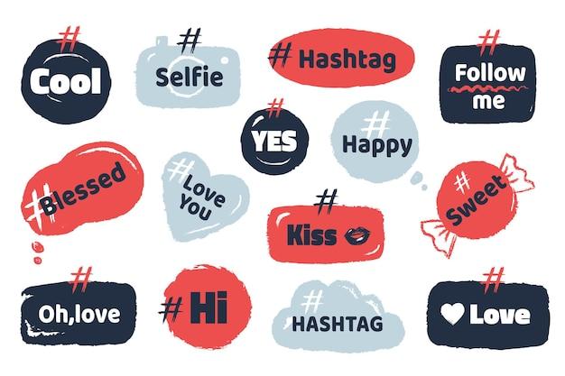 Banner sociale hashtag. media slang doodle con fumetti citazioni sociali moderne.