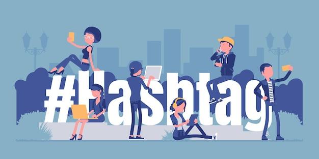 Hashtag, giovani che usano i social media. simbolo gigante del segno di hash, gli utenti contrassegnano argomenti, messaggi di interesse, notizie mobili.