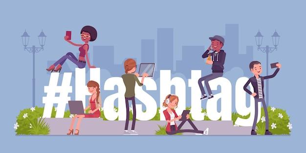Hashtag e giovani che usano i social media Vettore Premium