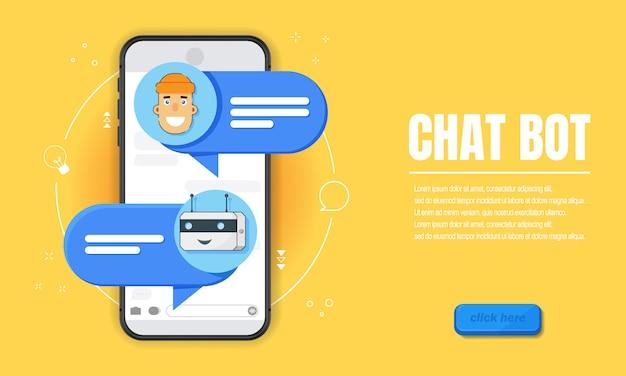 Che concetto di bot. modello orizzontale dell'insegna di affari con l'illustrazione dell'uomo che chiacchiera con il bot di chiacchierata in smartphone. copertina modello di sito web con posto per testo in stile piatto.