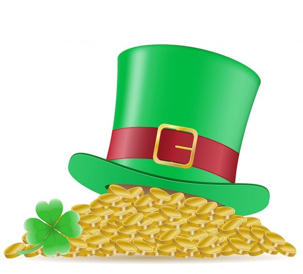 Illustrazione di vettore del giorno del `s di st patrick delle monete e del trifoglio del cappello