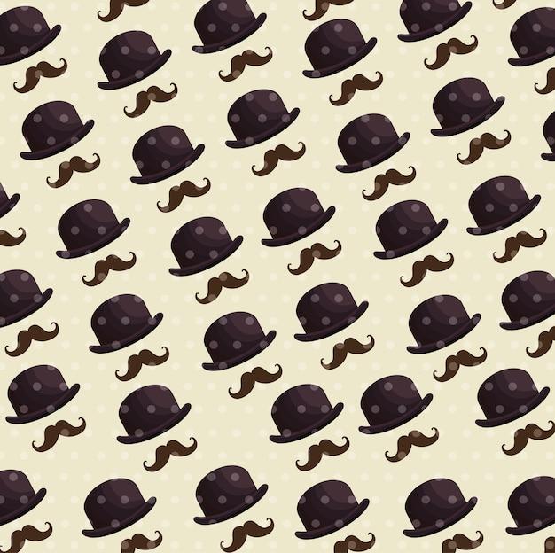 Sfondo di modello cappello e baffi