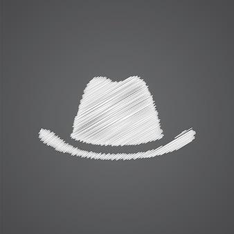 Icona di doodle logo schizzo cappello isolato su sfondo scuro