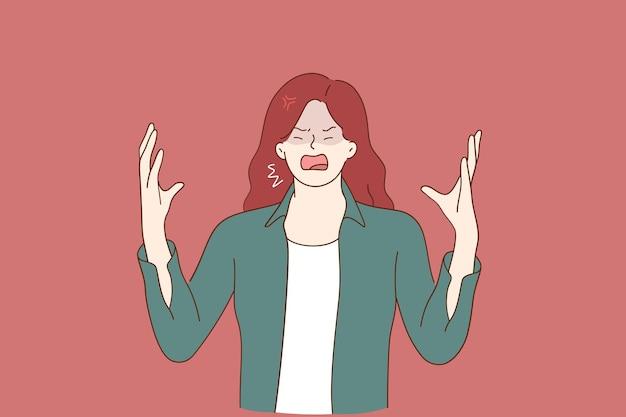 Odio, rabbia, concetto di urlo emotivo