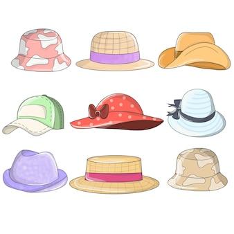 Cappelli e copricapi. elegante copricapo estivo maschile e femminile, cappelli vintage classici e moderni