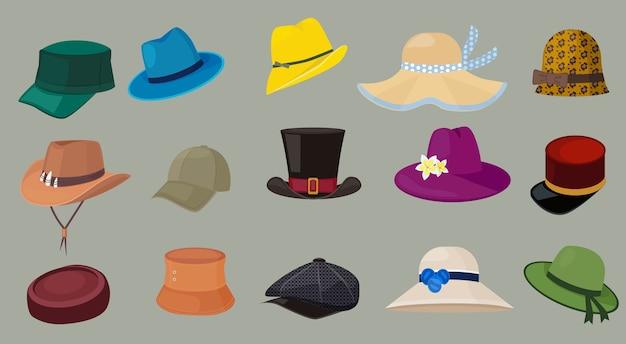 Cappelli. cappelli del fumetto degli accessori del guardaroba dei pantaloni a vita bassa degli accessori del guardaroba dei pantaloni a vita bassa dei vestiti della moda maschile e femminile. illustrazione guardaroba hipster, moda cappello in pelle, illustrazione di copricapo da collezione