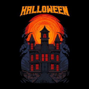 Casa stregata fantasma illustrazione