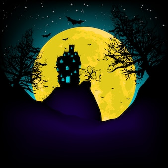 Haunted house su una collina del cimitero di notte con la luna piena. file vettoriale incluso