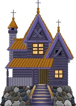 Casa stregata isolata su sfondo bianco