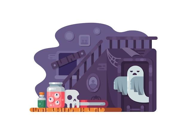 Casa infestata. vecchia casa abbandonata con spaventoso fantasma. illustrazione vettoriale