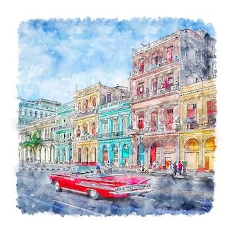 Illustrazione disegnata a mano di schizzo ad acquerello di havana cuba