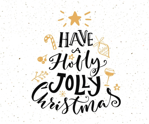 Avere un testo natalizio agrifoglio allegro. design della cartolina di natale con tipografia e scarabocchi dorati su sfondo bianco.