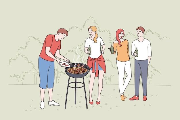 Avere il concetto di picnic e barbecue