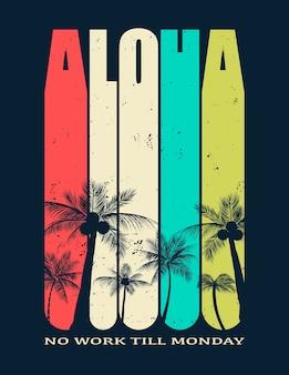 Hawaii, illustrazione aloha per stampe su t-shirt e altri usi