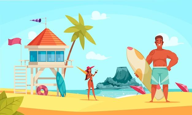 Composizione spiaggia hawaii con bungalow e coppia di turisti sulla spiaggia