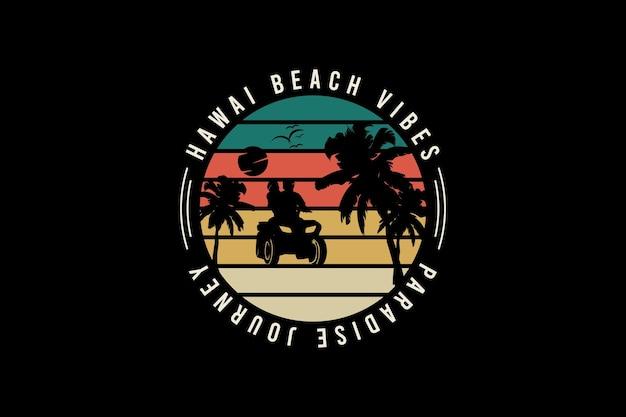 Vibrazioni da spiaggia delle hawaii, illustrazione di disegno a mano in stile vintage retrò