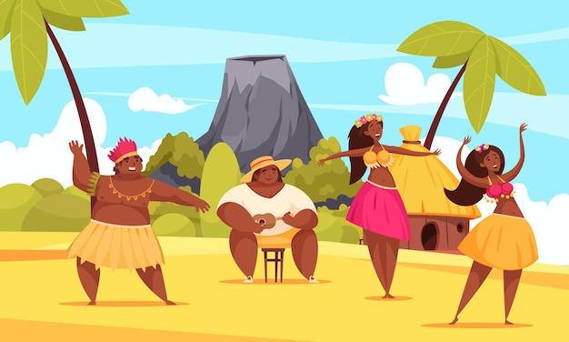 Composizione di danza hawaiana con due ragazze e un uomo che ballano sulla spiaggia