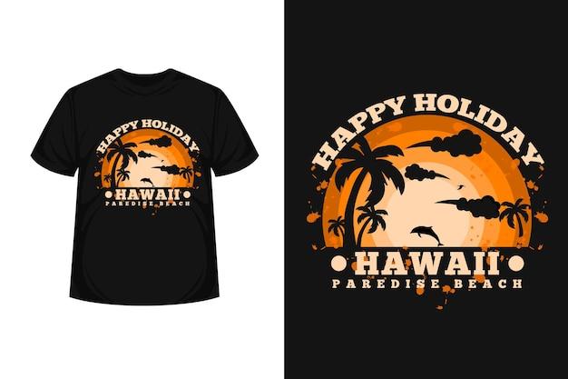 Design della maglietta della silhouette della merce da spiaggia delle hawaii paradise