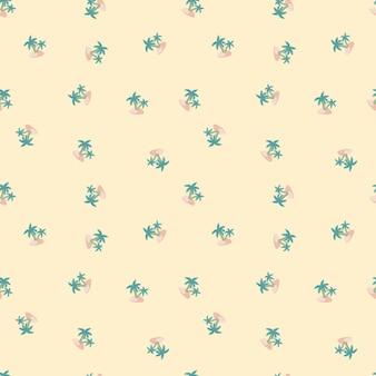 Modello di doodle senza giunte delle hawaii con forme di palme e isole blu. sfondo rosa chiaro pastello. progettato per il design del tessuto, la stampa tessile, il confezionamento, la copertura. illustrazione vettoriale.