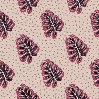 Reticolo senza giunte delle hawaii con ornamento foglia giungla monstera. sfondo rosa punteggiato. fondale decorativo per il design del tessuto, stampa tessile, avvolgimento, copertina. illustrazione vettoriale.