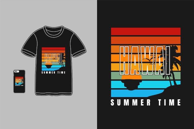 Orario estivo delle hawaii, siluet dell'albero di cocco del testo di tipografia della maglietta