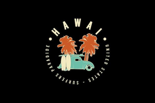 Hawaii, v tipografia mockup
