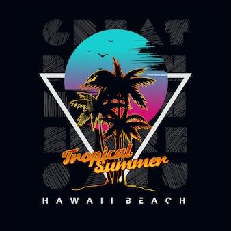Vettore grafico di tipografia della spiaggia hawaiana vettore premium