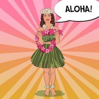 Ragazza hawaiana con collana di fiori tropicali