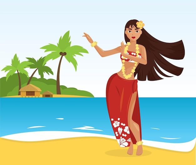 Giovane donna graziosa del ballerino hawaiano di hula
