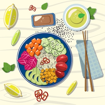 Salmone hawaiano con avocado, cavolo rosso, cetriolo, riso, limone, lime, tè verde, foglie di menta, semi di sesamo.