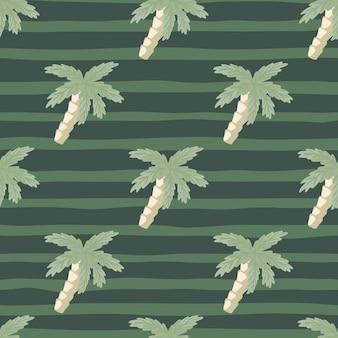 Modello senza cuciture hawaiano nei toni del verde pallido con sagome di palme tropicali. sfondo a righe. progettato per il design del tessuto, la stampa tessile, il confezionamento, la copertura. illustrazione vettoriale.
