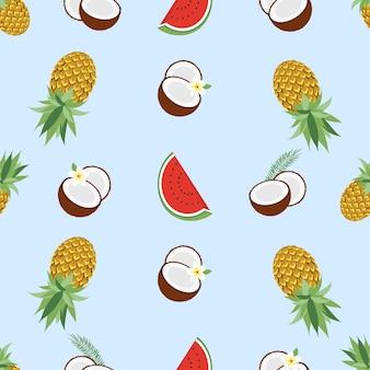 Seamless pattern hawaiano con frutti tropicali e fiori. illustrazione vettoriale. facile da usare per sfondo, tessuto, carta da imballaggio, poster a parete. Vettore Premium