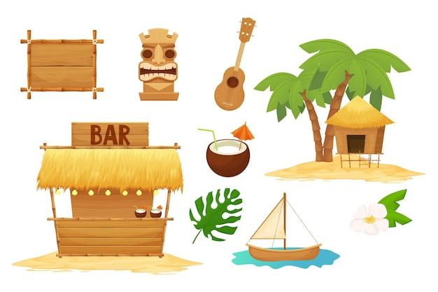 Elementi tradizionali di vacanza set hawaiano in stile cartone animato