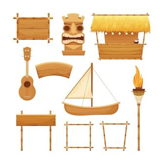 Elementi di legno tradizionali di vacanza insieme hawaiano nello stile del fumetto