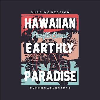Hawaiano tropicale tramonto surf rider long beach estate vettore t shirt stampa tipografia