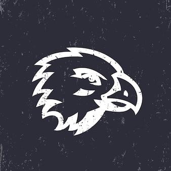 Falco, testa d'aquila per il design del logo, bianco su sfondo scuro, illustrazione vettoriale